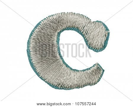 Fonts that are stitched with thread isolated on white capitol letter C