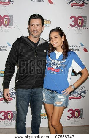 LOS ANGELES - NOV 7: Nomar Garciaparra, Constance Marie at the Adrian Gonzalez's Bat 4 Hope Celebrity Softball Game PADRES Contra El Cancer at the Dodger Stadium on November 7, 2015 in Los Angeles, CA