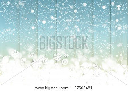 Snow fake on the colorful wooden background