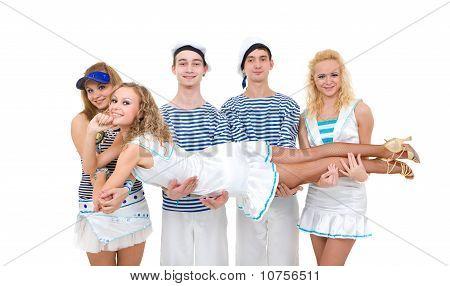 Dance Team Wearing A Sailor Uniform