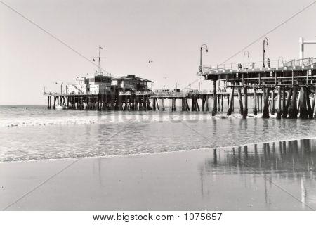 Santa Monica Pier In B&W 2
