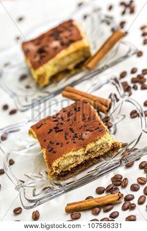 Tiramisu Cake With Coffee Beans And Cinnamon