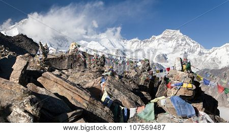 Panoramic View Of Mount Cho Oyu And Mount Gyachung Kang