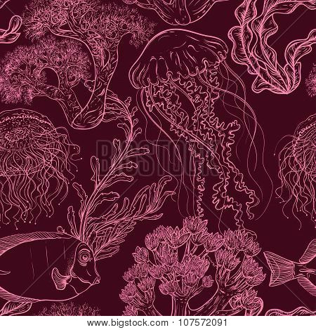 Seamless pattern with jellyfish,tropical fish, marine plants and corals. Vintage hand drawn vector i