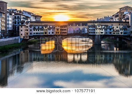 Ponte Vecchio is one of the most famous bridge in the world visited by million of tourists every year Florence Italy poster