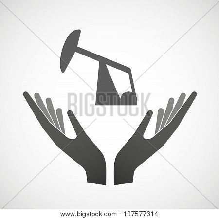 Two Vector Hands Offering A Horsehead Pump