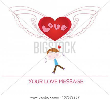 cute cartoon illustration of young man in love, love card.