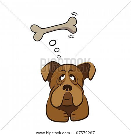 Cute dog thinking about bone, vector illustration