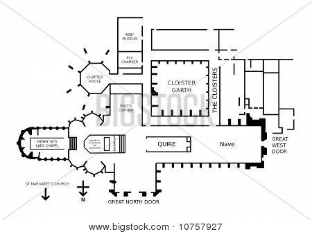 Floor plan of Westminster Abbey London England. This is where Prince William will marry Kate Middleton next year. poster