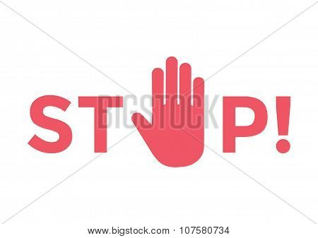 Stop hand sign symbol