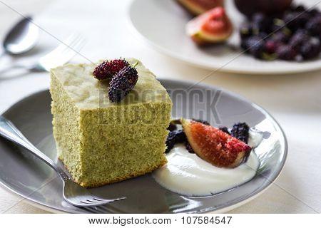 Matcha Cake With Fresh Fruit And Cream