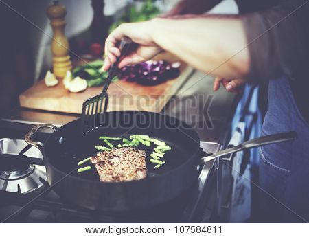 Housewife Cooking Grilled Steak Dinner Concept