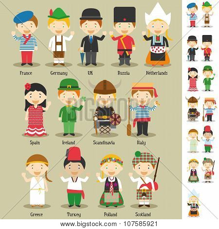 Kids and nationalities of the world vector: Europe Set 1.