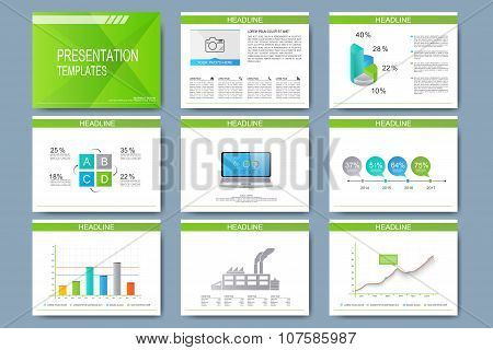Set of vector templates for multipurpose presentation slides. Modern business design with graph and