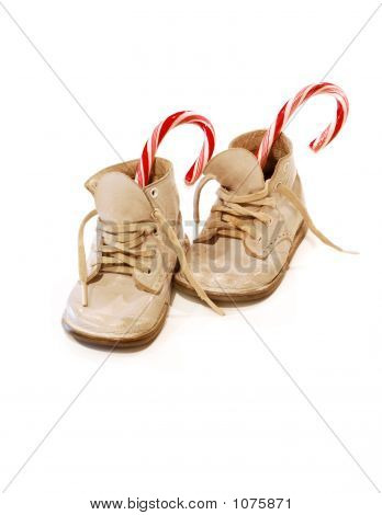 Baby Shoes And Candy Canes