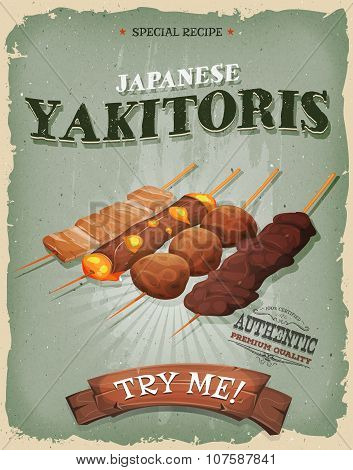 Grunge And Vintage Japanese Yakitoris Poster