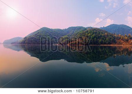Beautiful Green Hills Landscape From Boat View On Phewa Lake, Pokhara, Nepal