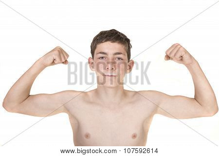 Teenage Boy Flexing His Muscles With Milk Moustache poster