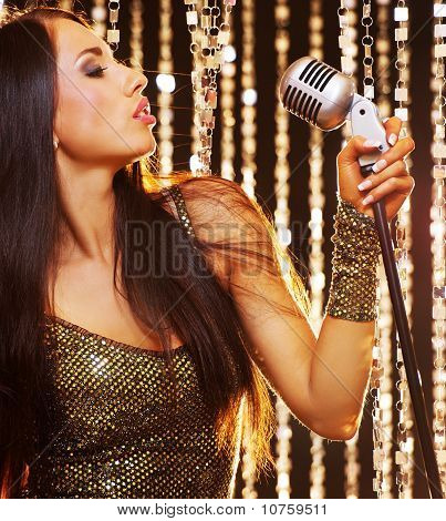 Attractive singer on the stage