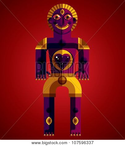 Cubism Theme Vector Graphic Illustration, Modernistic Symbol. Geometric Cartoon Character