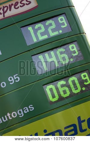 Sign with fuel prices for cars, s