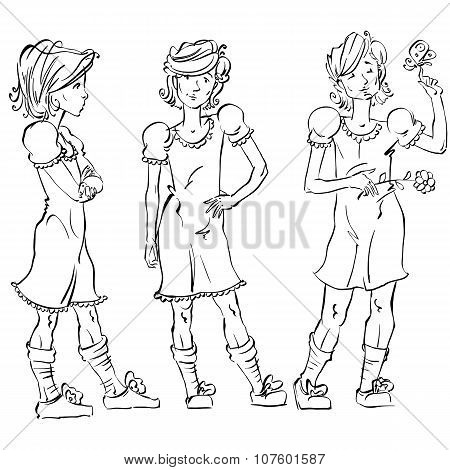 Set Of Vector Full-length Hand-drawn Caucasian Teens, Black And White Front And Side View Sketch Of