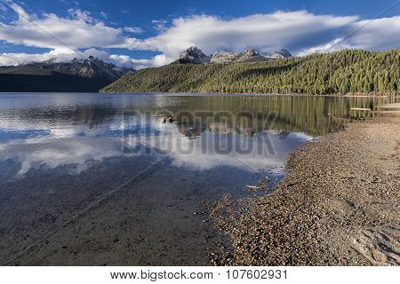 Redfish Lake On A Sunny Day.