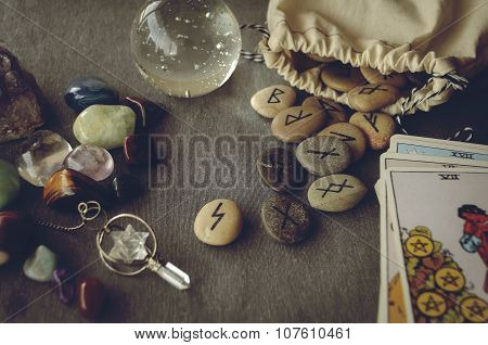 divination and prediction on runes and Tarot mysticism or esoteric isolated on grey background poster
