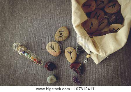 runes and tarot cards