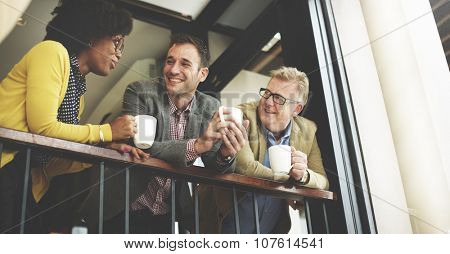 Group Business People Chatting Balcony Concept
