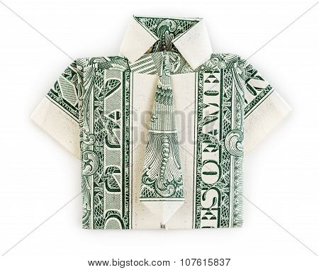 Dollar Origami Shirt And Tie Isolated