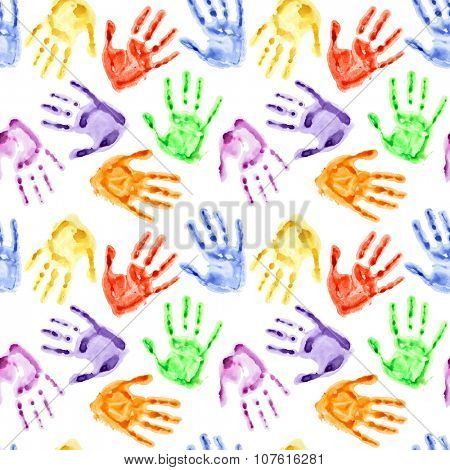 Rainbow watercolor hand prints - colorful seamless background