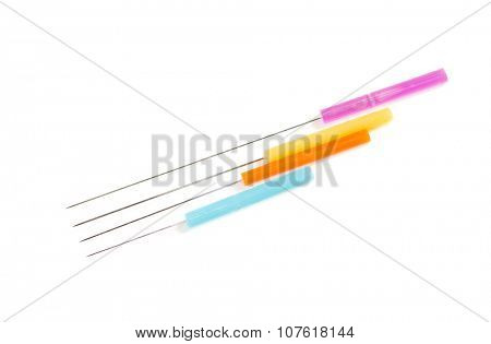 Acupuncture needles  on white background