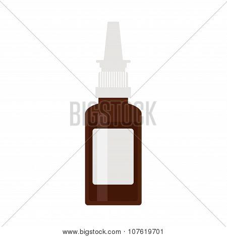 Nasal spray bottle. Brown plastic spray icon on white background.