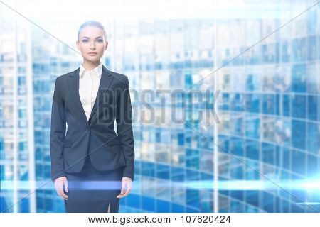 Portrait blue background. Concept of leadership and success