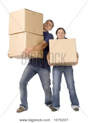 House Renovation - Couple Carrying Boxes