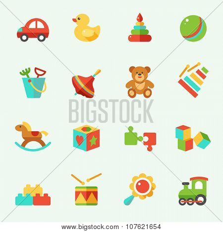 Toy icons, flat design