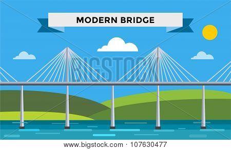 Modern bridge vector illustration