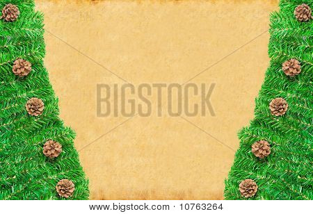 Christmas green framework with Pine needles and cones isolated