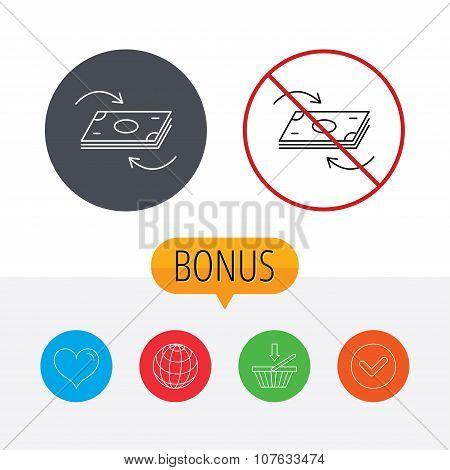 Money flow icon. Cash investment sign.