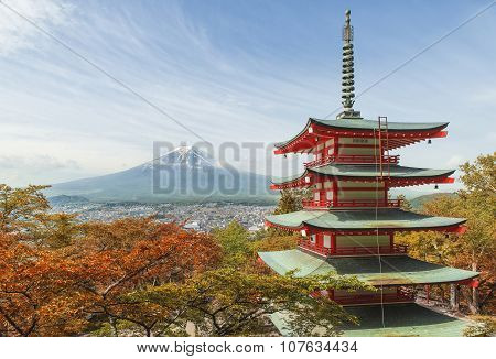 Travel Destination - Mt. Fuji With Red Pagoda In Spring, Fujiyoshida, Japan
