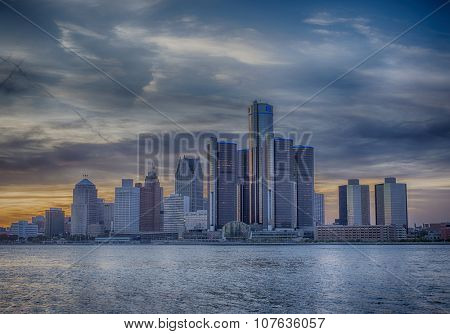 A view of Detroit skyline at sunset with dramatic HDR effect