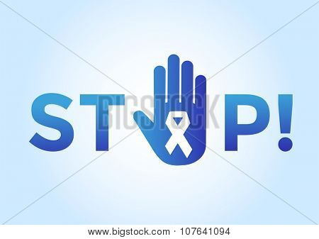Stop cancer medical poster concept. Cancer ribbon, breast cancer awareness symbol, isolated on background. Vector illustration of cancer ribbon for people cancer and human hand Stop symbol. Medical