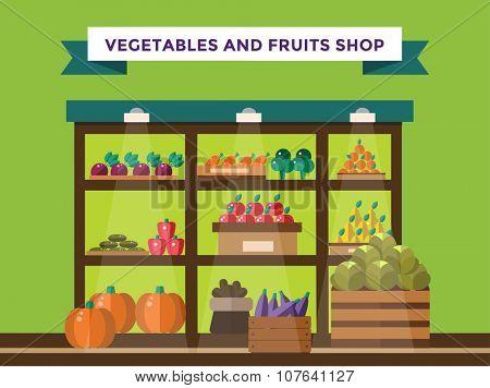 Fruit and vegetables shop stall. Shop market fruits silhouette. Supermarket food shop, fruits shop stall. Food shop vector illustration. Banana, apple, orange, lime, pumpkin fruits. Fruit kiosk vector