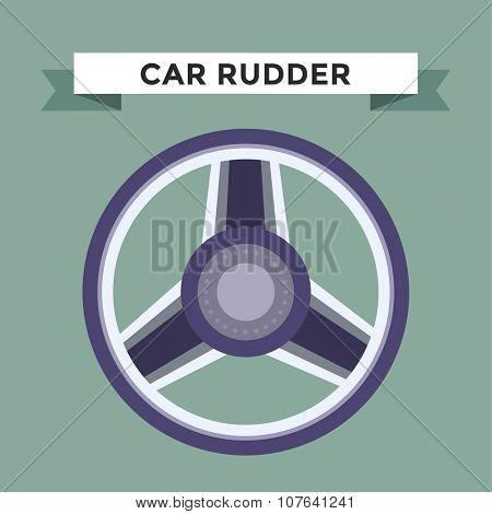 Vector rudder flat icon. Rudder wheel illustration. Car wheel control rudder vector icon. Rudders cars, wheel, round, control, track, sport. Rudder icon. Wheel icon. Rudder and wheel isolated