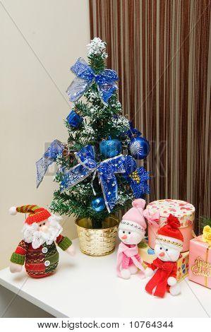 Christmas greeting Santa with gifts