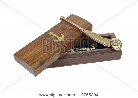 Boson Whistle With Wooden Box