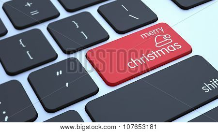 Keyboard With Merry Christmas Key 3D