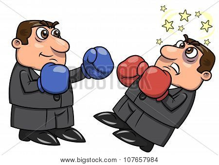 Businessman is punching competitor 2