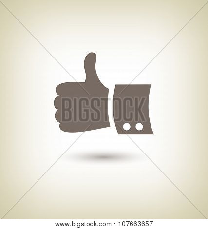 Thumb Up Gesture. Good Icon Hand On Beige